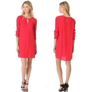 BCBGMAXAZRIA Emmalise Cutout Dress in Red Berry M
